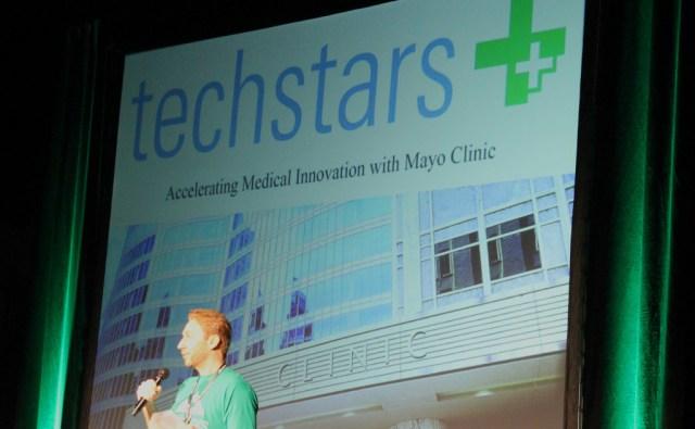 Jason Seats addresses the Austin TechStars Demo Day 2015 audience. Photo: Stephen C. Webster.
