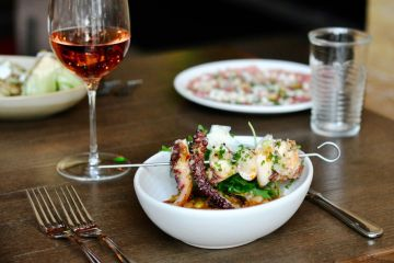 Red Ash Happy Hour octopus and wine