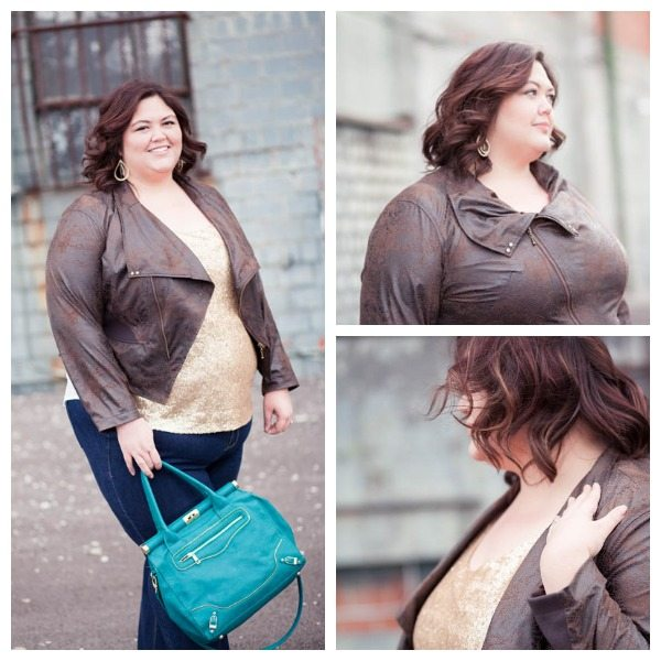 Sequin top and moto jacket via Gwynnie Bee