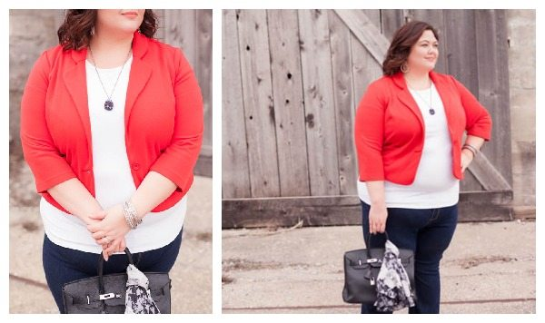 ASOS Curve red blazer and jeans