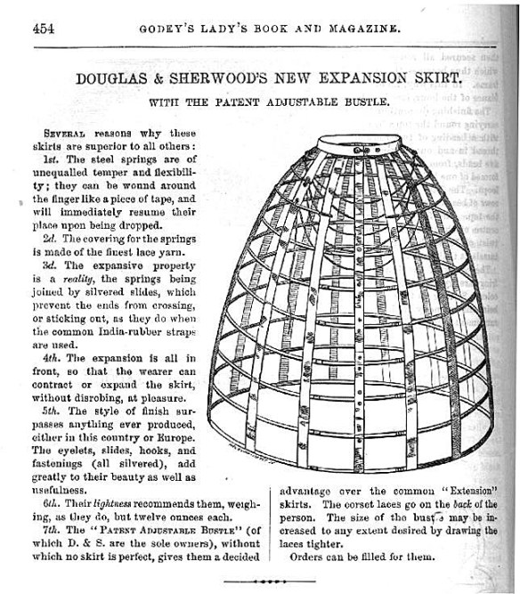 Douglas & Sherwood's Expansion Hoop Crinoline as seen in Godeys,1859.