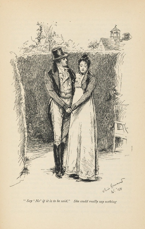 """Say 'No' if it is to be be said. She could really say nothing"" - an illustration by Chris Hammond of an 1898 edition of the novel Emma by Jane Austen. Source: Houghton Typ 805.98.1770, Houghton Library, Harvard University."