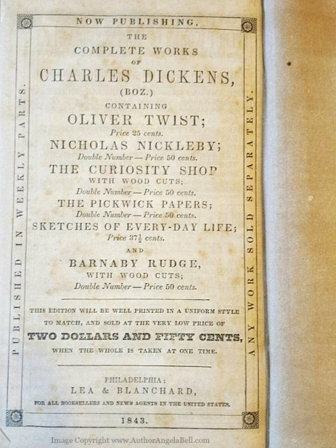 From my personal collection: Old 1843 advertisement for the works of Charles Dickens in the back of Lives of the Queens of England.