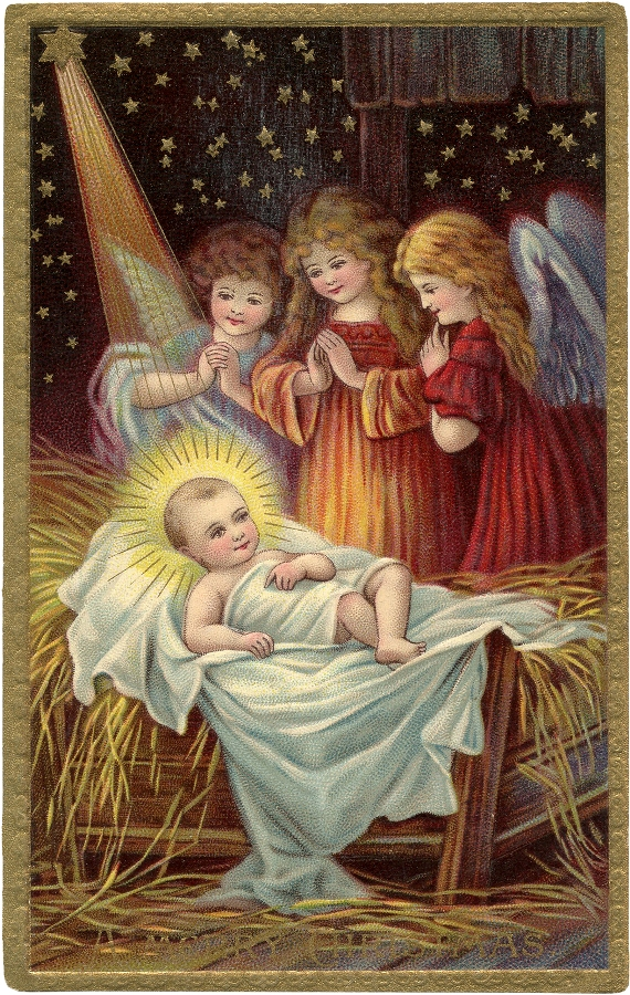 Baby Jesus Victorian Angels / Source The Graphic's Fairy.com / Click Image for Full Size