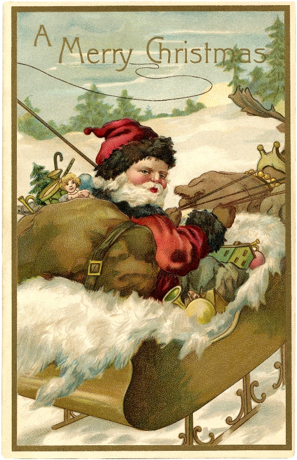 Victorian Santa Sleigh / Source The Graphic's Fairy.com / Click Image for Full Size
