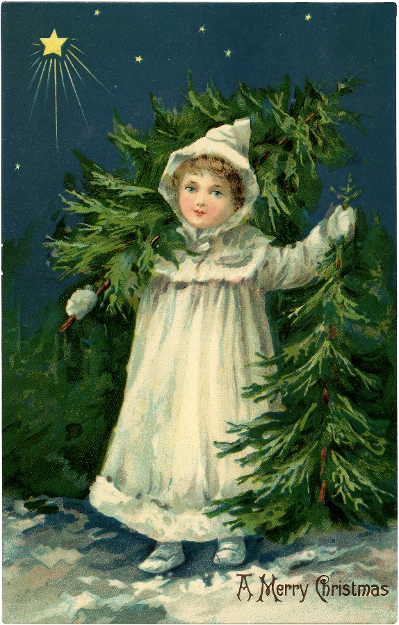 Victorian Girl Tree Farm / Source The Graphic's Fairy.com / Click Image for Full Size
