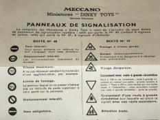 notice pour la boîte de panneaux Dinky Toys