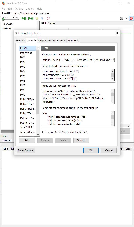 Selenium IDE Formats Tab