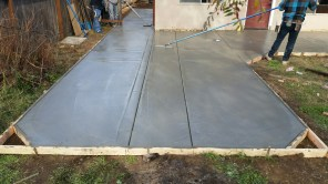 Classic gray concrete, ready to be stamped.
