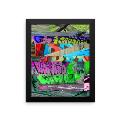 Glitched Graffiti Framed poster
