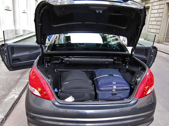 Peugeot 207cc with luggage in trunk/boot
