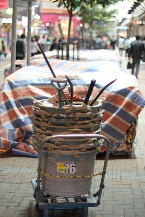 Cleanup Supplies for the Nightime Cleaning Crew in Causeway Bay