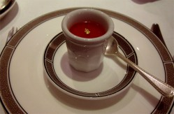 Fooled you! That's a jelly amuse bouche, not tea.
