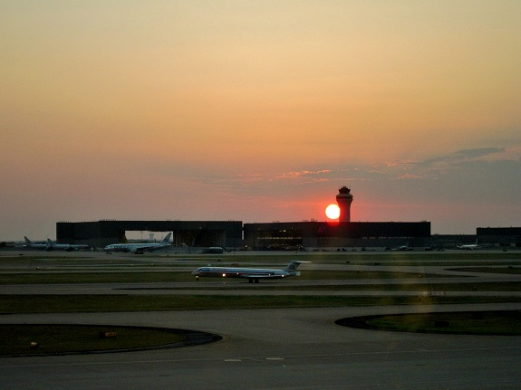 Sun Setting Behind the Tower at Dallas Fort Worth Airport