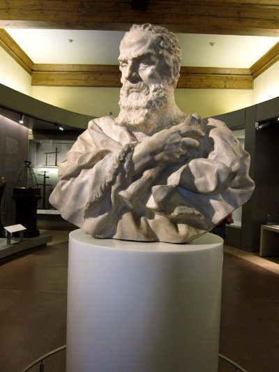 Bust of Galileo at the Museo Galileo Florence Italy
