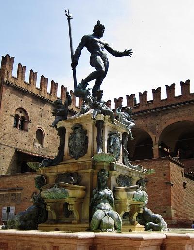 Statue in Piazza San Maggiore in Bologna Italy