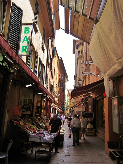 Food markets in Bologna Italy