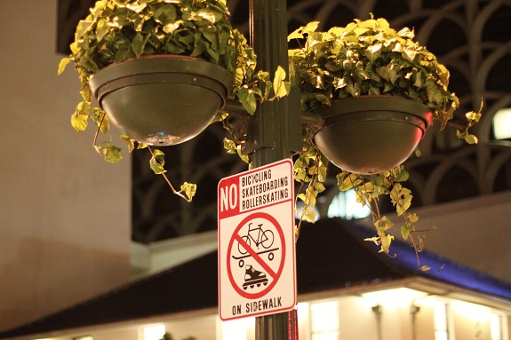Streetlight Planters at Night in Waikiki