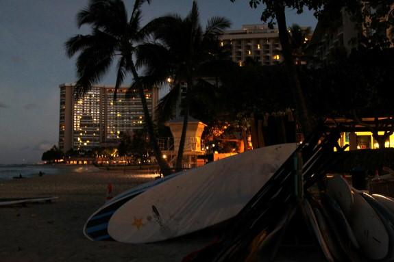 Surfboards at Dawn at Waikiki