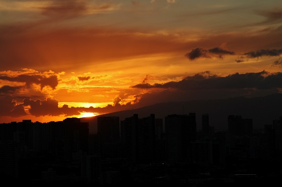 Sunset Over Honolulu Hawaii