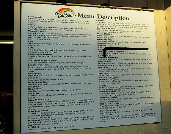 Rainbow Drive-In Menu Description