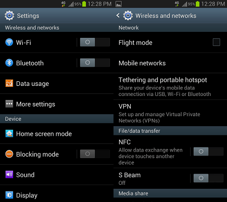 Android Wireless and Network Settings Screens