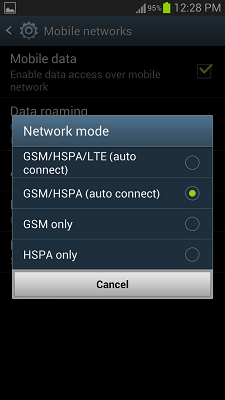 Android Network Mode Screen