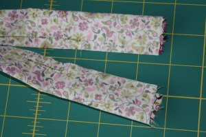 pin and sew along the log side, stopping and starting 2-3 inches from ends