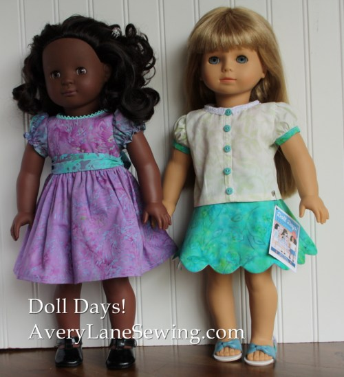 doll days patterns scallop skirt vintage party dress for American Girl Dlls using majestic-batik-fabrics