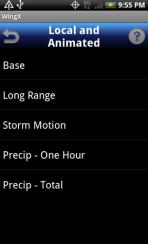 WingX weather radar screen