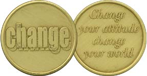 Change Your Attitude Change Your World Bronze Medallion