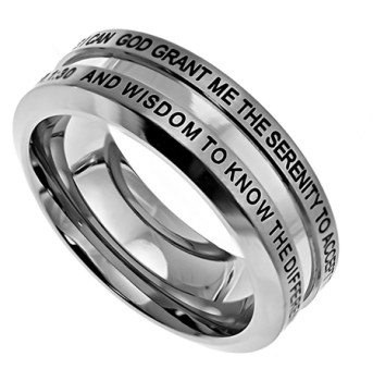 Industrial Band Serenity Prayer Ring