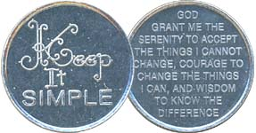 Keep It Simple with Serenity Prayer  Aluminum Medallion