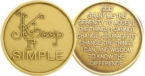 Keep It Simple with Serenity Prayer Bronze Medallion