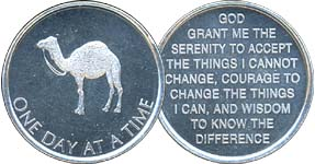 One Day At A Time Camel Aluminum Medallion