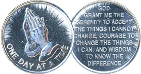 One Day At A Time Praying Hands Aluminum Medallion