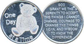 One Day At A Time Teddy Bear Aluminum Medallion