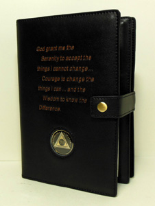 Soft Supple Genuine LEATHER BLACK Alcoholics Anonymous Deluxe Double Book Cover