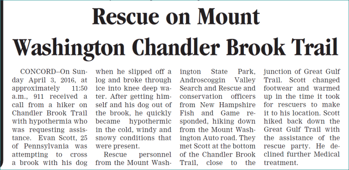 Chandler Brook Rescue