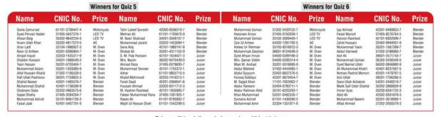 ORIENT Winner names of Quiz