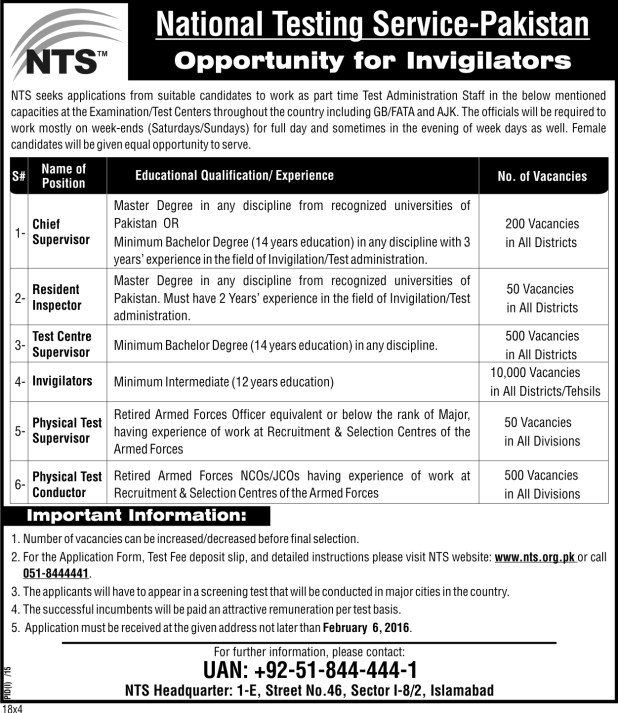 National Testing Service Recruitment Test for Invigilation Staff