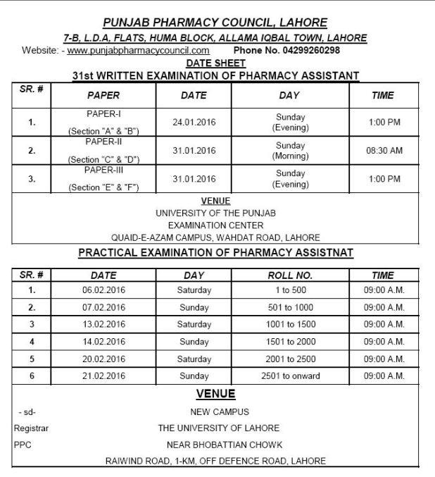 PPL 31st Exam. Date Sheet online