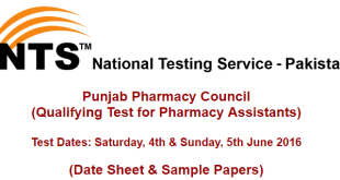 Punjab Pharmacy Council Qualifying Test for Pharmacy Assistants by nts