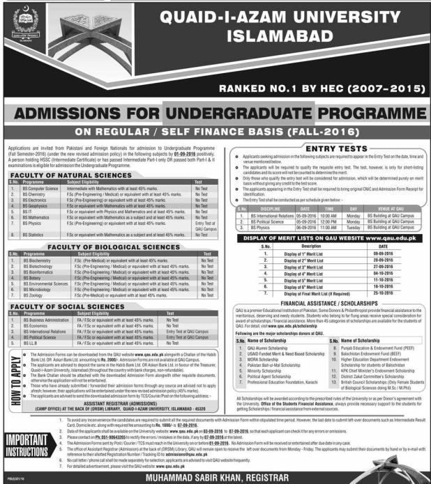 quaid azam university admission 2016