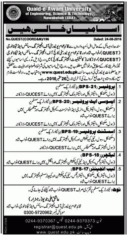 QUAID-E-AWAM UNIVERSITY OF ENGINEERING, SCIENCE & TECHNOLOGY NAWABSHAH JOBS 2016