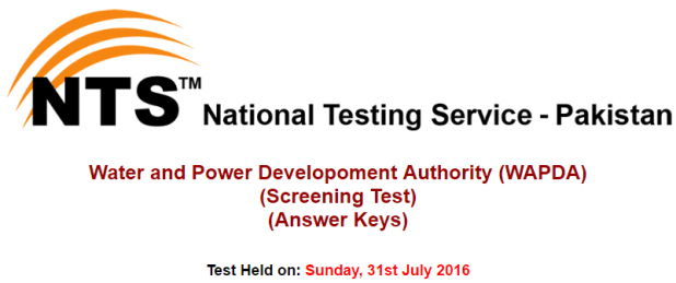 nts Water and Power Developoment Authority (WAPDA) Answer Keys August 2016