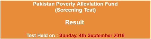 Pakistan Poverty Alleviation Fund (PPAF) NTS Result 2016