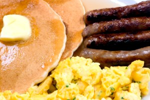 A start to a good day... pancakes, eggs and sausage