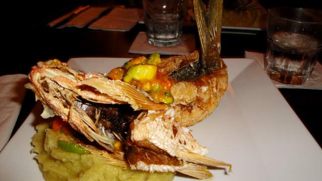 My meal at Jose Enrique - whole fried red snapper, still in the shape of the fish, with avocado and corn salsa and cilantro mashed potatoes. *Drool*