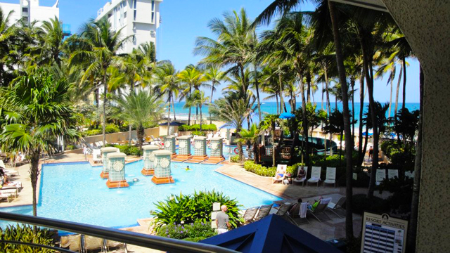Our pool and beach at the San Juan Marriot Resort and Casino.